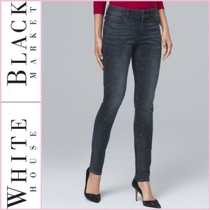 WHBM Mid Rise Stud Front Skinny Ankle Denim Jeans